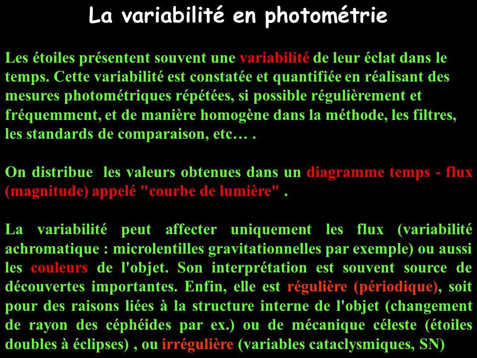 La variabilité en photométrie Les étoiles présentent souvent une variabilité de leur éclat dans le temps. Cette variabilité est constatée et quantifié