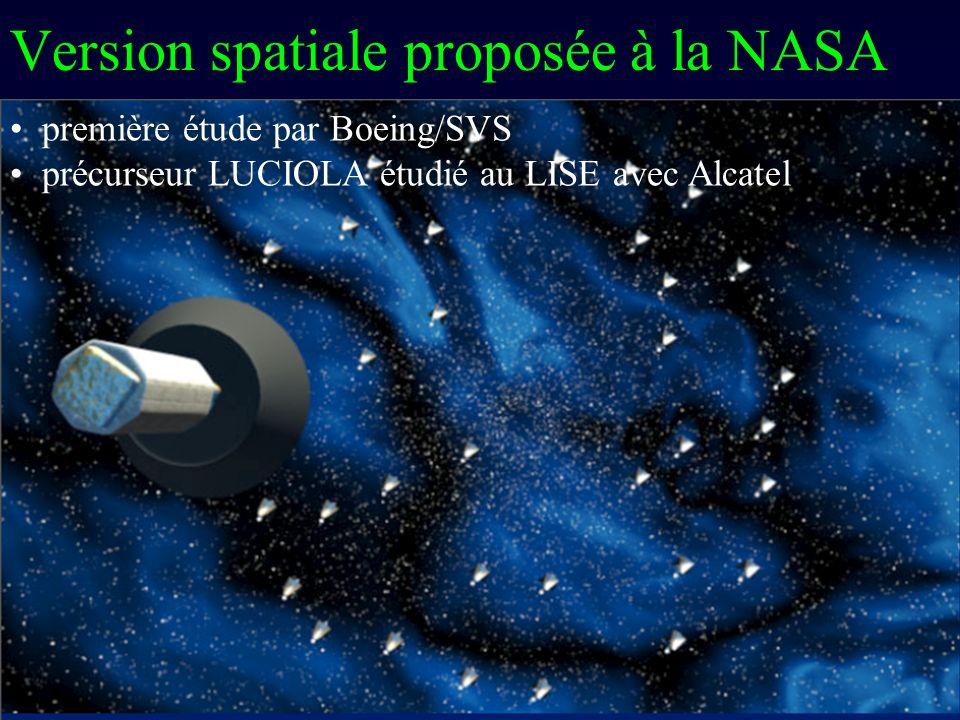 Version spatiale proposée à la NASA première étude par Boeing/SVS précurseur LUCIOLA étudié au LISE avec Alcatel