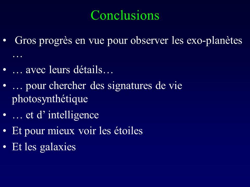 Conclusions Gros progrès en vue pour observer les exo-planètes … … avec leurs détails… … pour chercher des signatures de vie photosynthétique … et d intelligence Et pour mieux voir les étoiles Et les galaxies
