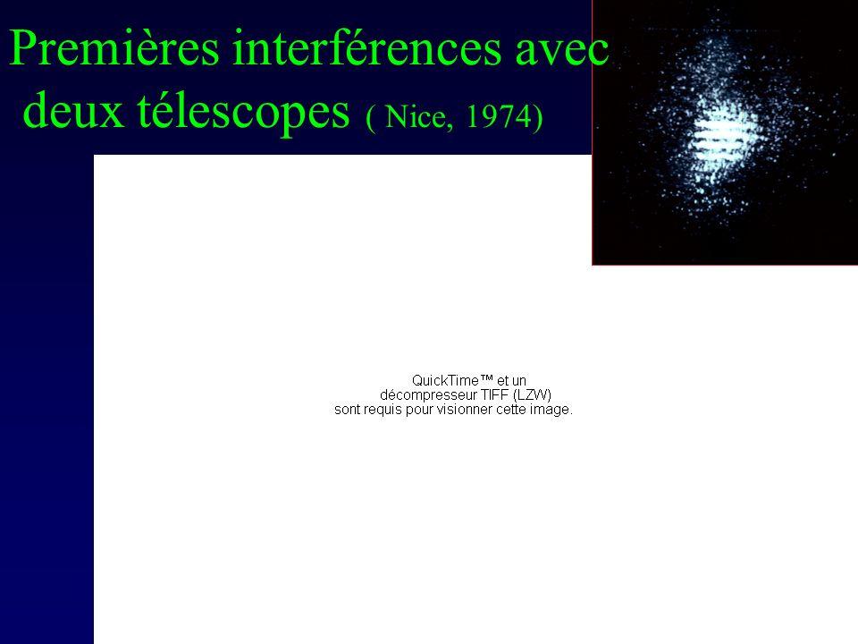 Very Large Telescope Observatoire Européen Austral ( Chili) Quatre télescopes de 8m, couplés optiquement pour linterféromètrie Base 120m Keck ( Hawaïï) : deux télescopes mosaïques de 10m Base 85m
