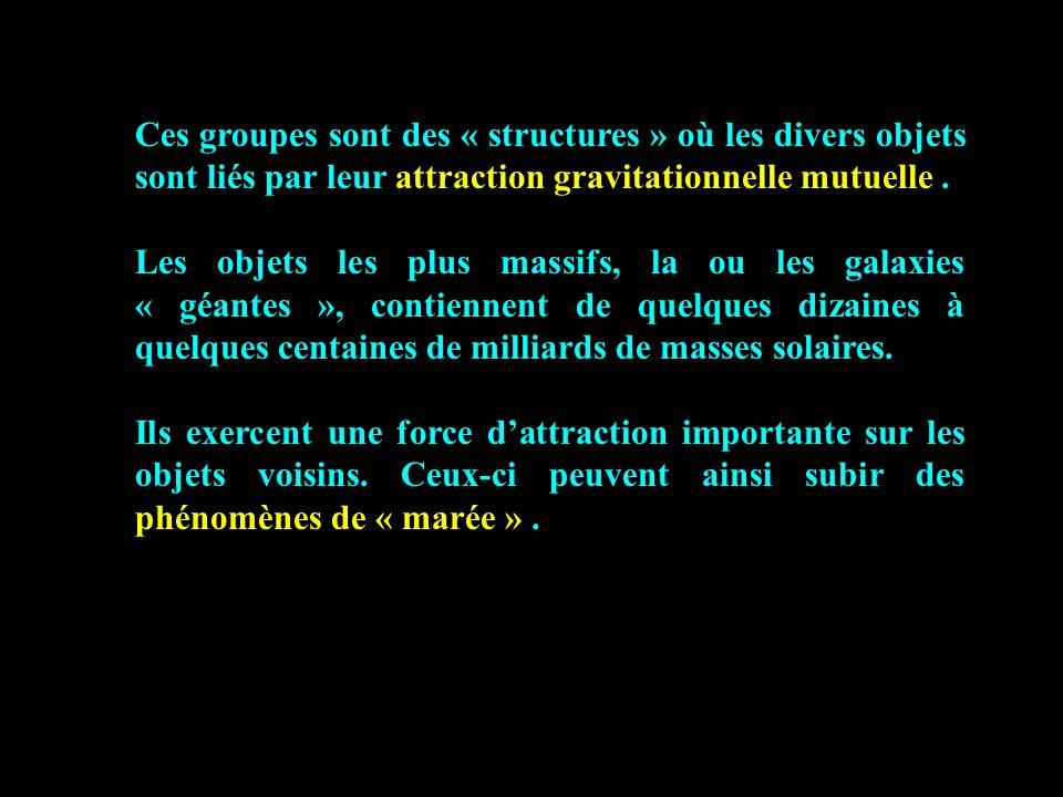Ces groupes sont des « structures » où les divers objets sont liés par leur attraction gravitationnelle mutuelle. Les objets les plus massifs, la ou l