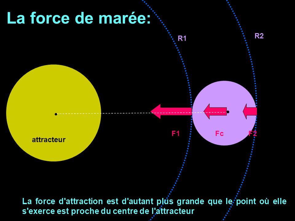La force de marée: attracteur R1 R2 F1 Fc F2 La force d'attraction est d'autant plus grande que le point où elle s'exerce est proche du centre de l'at