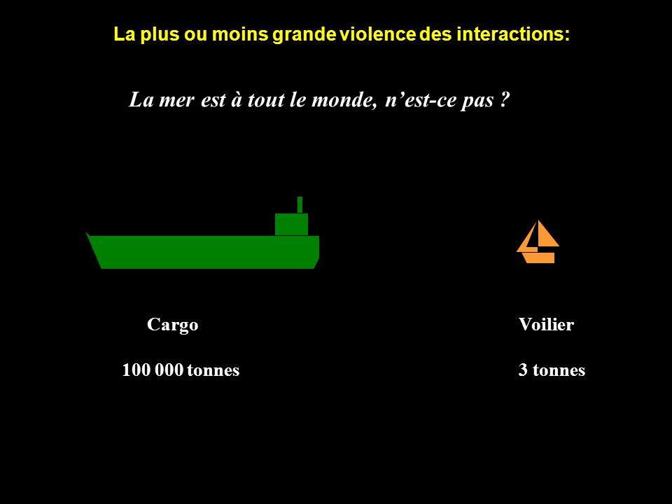 Cargo Voilier 100 000 tonnes 3 tonnes La mer est à tout le monde, nest-ce pas ? La plus ou moins grande violence des interactions: