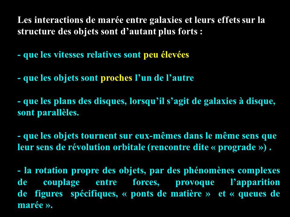 Les interactions de marée entre galaxies et leurs effets sur la structure des objets sont dautant plus forts : - que les vitesses relatives sont peu é