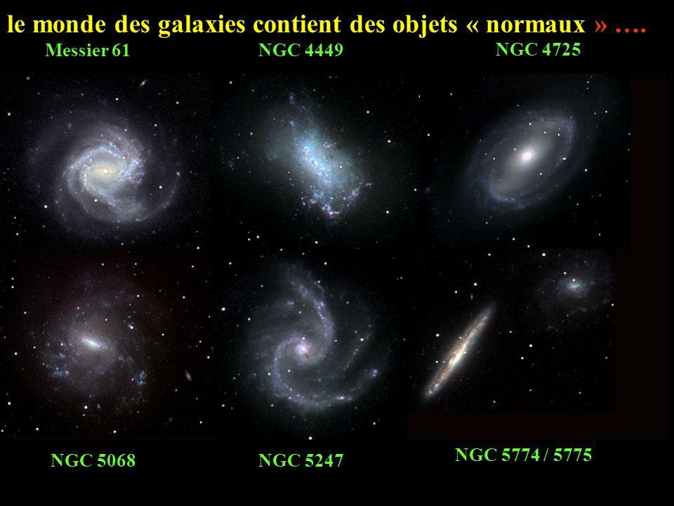 Des simulations numériques permettent dinterpréter un phénomène comme la Roue de Charrette par la collision dune galaxie à disque (vue de face à gauche, de profil à droite) avec une galaxie plus petite qui la traverse en son centre.
