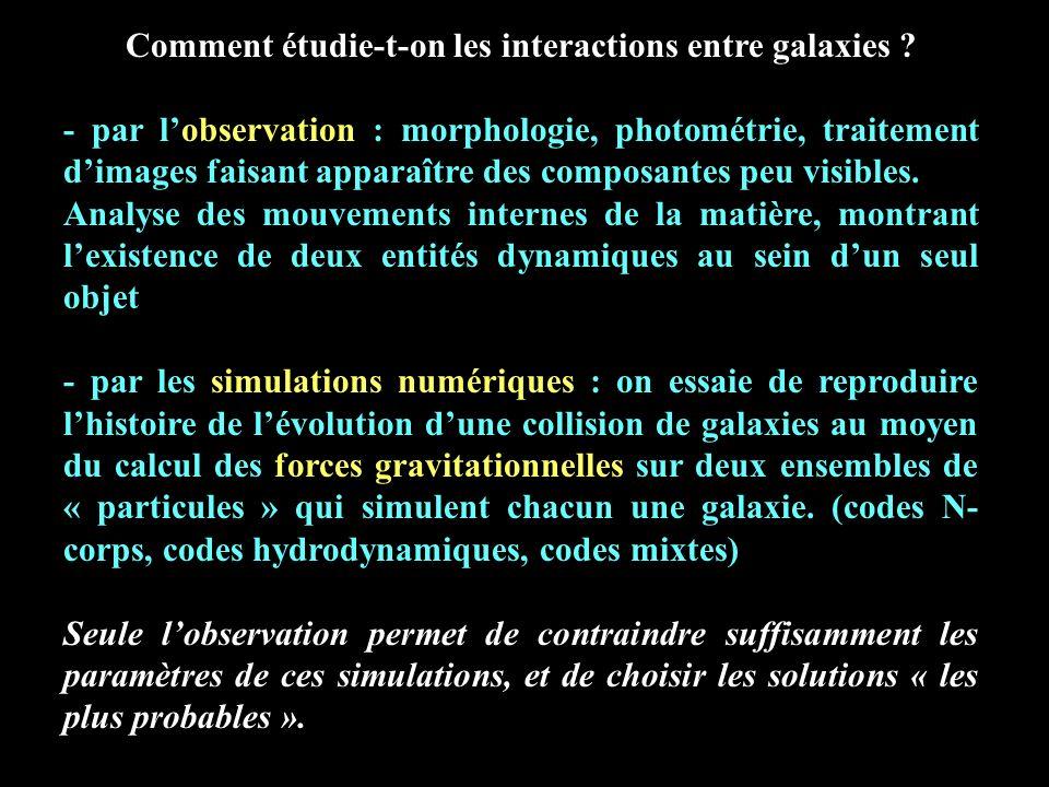 Comment étudie-t-on les interactions entre galaxies ? - par lobservation : morphologie, photométrie, traitement dimages faisant apparaître des composa