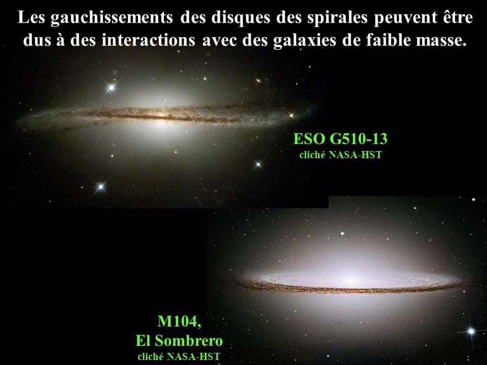 M104, El Sombrero cliché NASA-HST Les gauchissements des disques des spirales peuvent être dus à des interactions avec des galaxies de faible masse. E