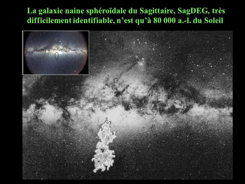 La galaxie naine sphéroïdale du Sagittaire, SagDEG, très difficilement identifiable, nest quà 80 000 a.-l. du Soleil