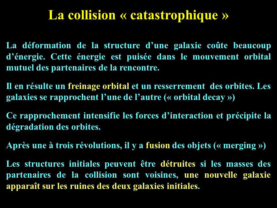 La collision « catastrophique » La déformation de la structure dune galaxie coûte beaucoup dénergie. Cette énergie est puisée dans le mouvement orbita
