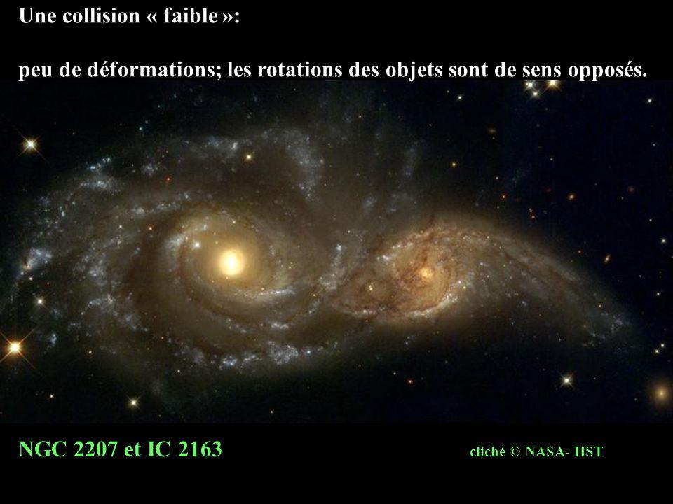 Une collision « faible »: peu de déformations; les rotations des objets sont de sens opposés. NGC 2207 et IC 2163 cliché © NASA- HST