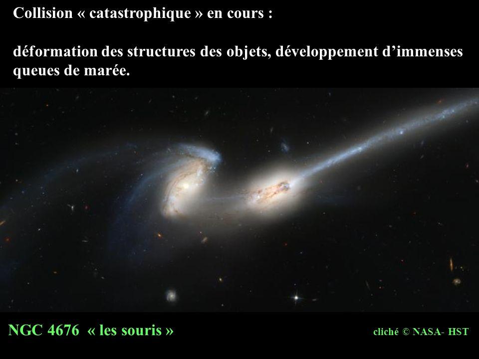 Collision « catastrophique » en cours : déformation des structures des objets, développement dimmenses queues de marée. NGC 4676 « les souris » cliché