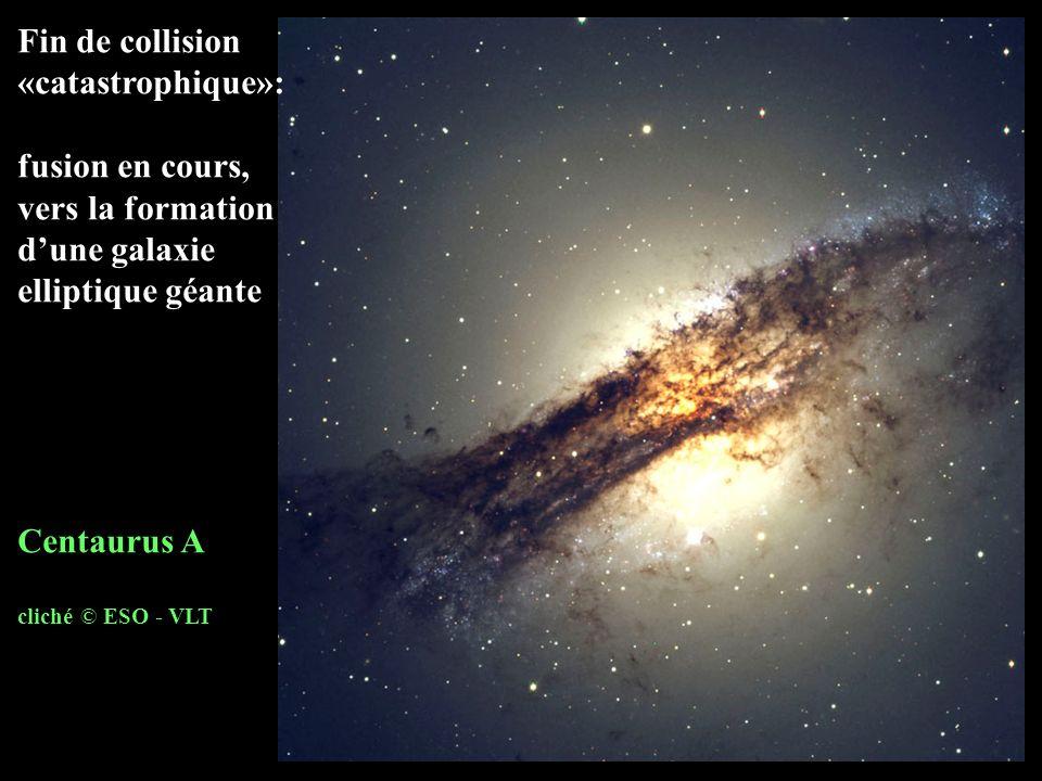 Fin de collision «catastrophique»: fusion en cours, vers la formation dune galaxie elliptique géante Centaurus A cliché © ESO - VLT