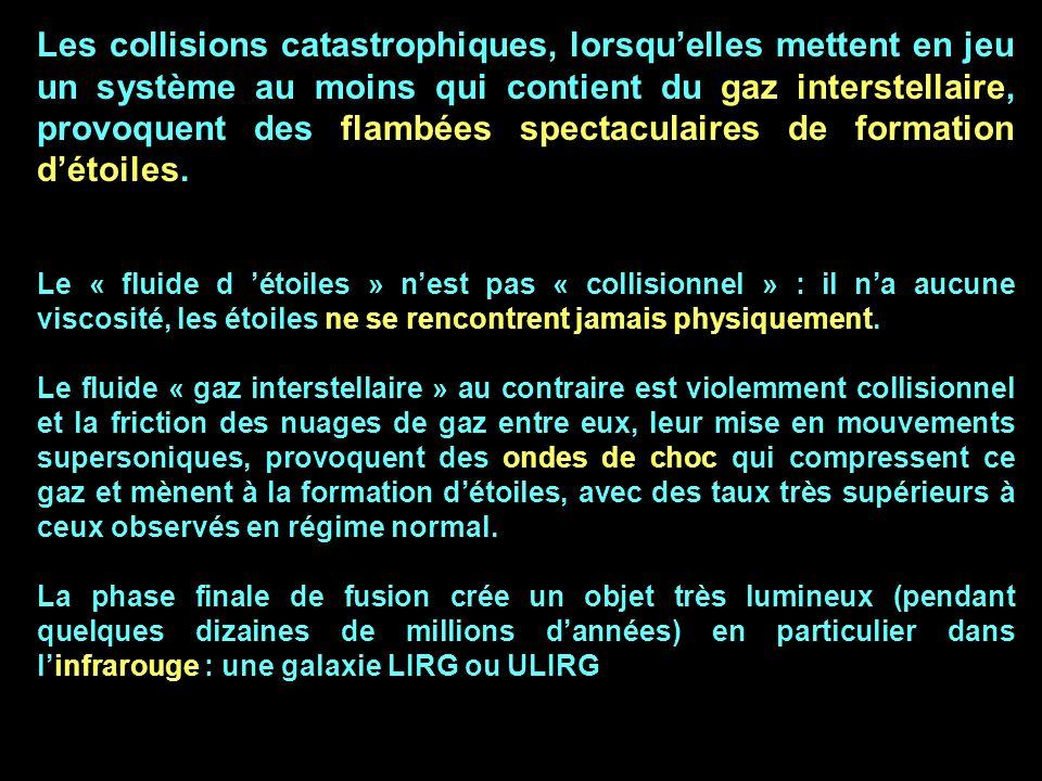 Les collisions catastrophiques, lorsquelles mettent en jeu un système au moins qui contient du gaz interstellaire, provoquent des flambées spectaculai