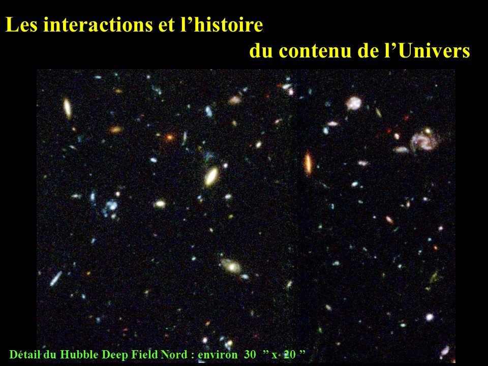 Détail du Hubble Deep Field Nord : environ 30 x 20 Les interactions et lhistoire du contenu de lUnivers