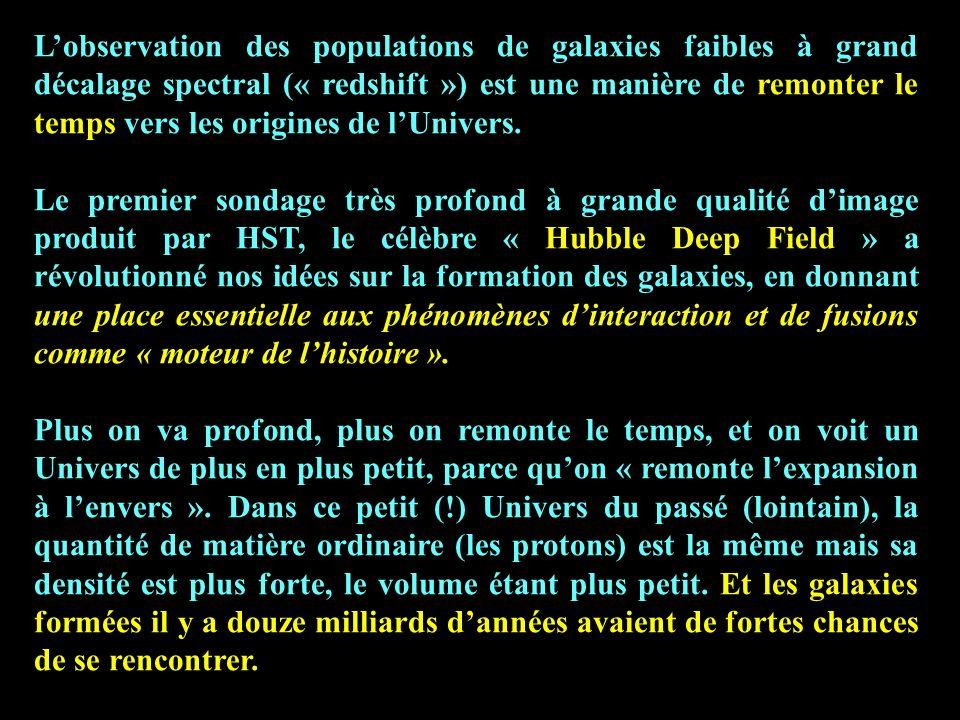 Lobservation des populations de galaxies faibles à grand décalage spectral (« redshift ») est une manière de remonter le temps vers les origines de lU