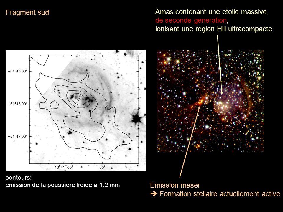 Fragment sud Emission maser Formation stellaire actuellement active Amas contenant une etoile massive, de seconde generation, ionisant une region HII