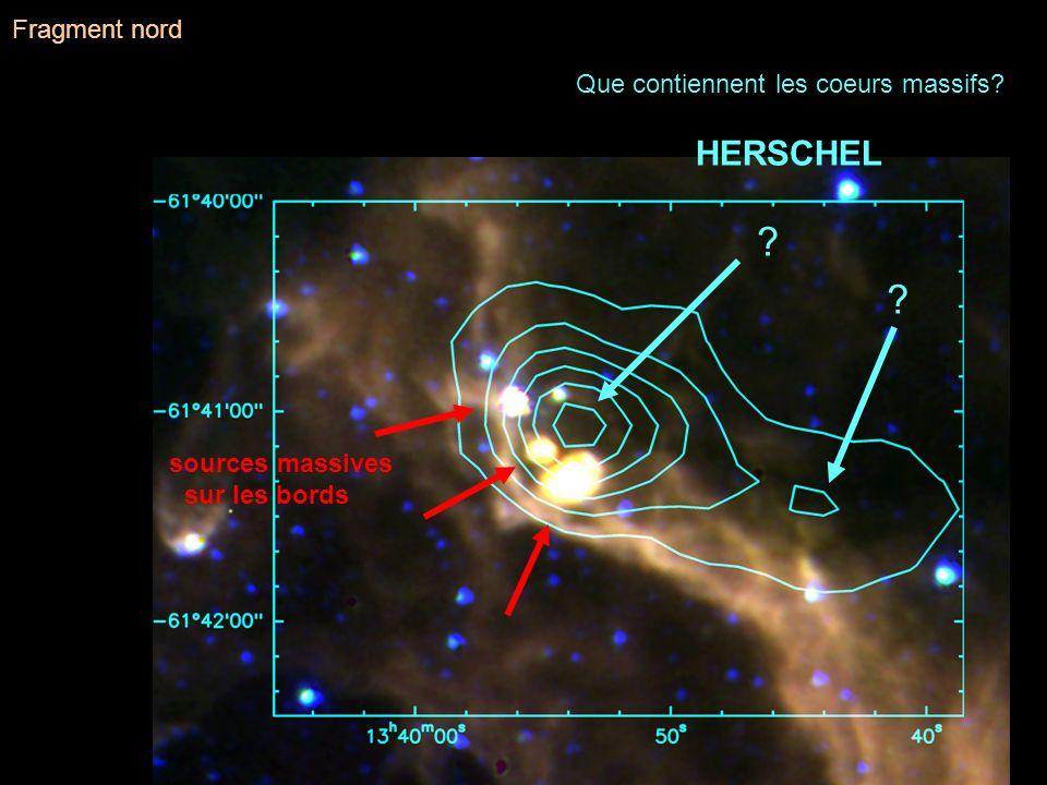 ? ? sources massives sur les bords Que contiennent les coeurs massifs? HERSCHEL Fragment nord
