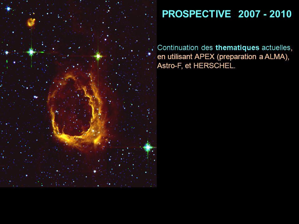 PROSPECTIVE 2007 - 2010 Continuation des thematiques actuelles, en utilisant APEX (preparation a ALMA), Astro-F, et HERSCHEL.