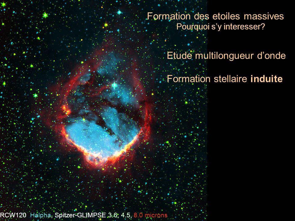 Formation stellaire induite Formation des etoiles massives Pourquoi sy interesser? Etude multilongueur donde RCW120 Halpha, Spitzer-GLIMPSE 3.6, 4.5,