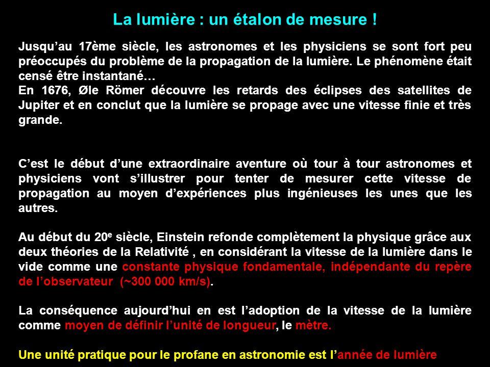 La lumière : un étalon de mesure .