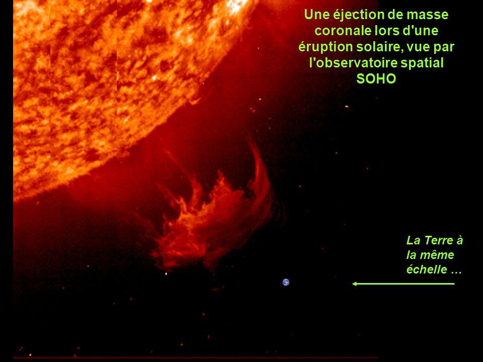 La Terre à la même échelle … Une éjection de masse coronale lors d une éruption solaire, vue par l observatoire spatial SOHO