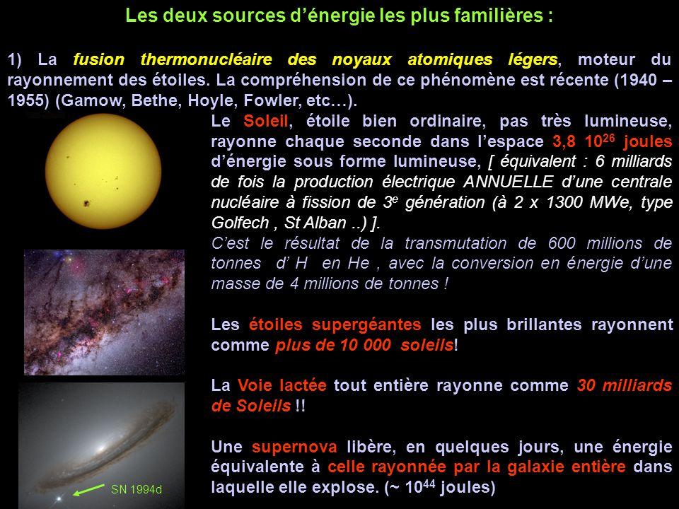 Les deux sources dénergie les plus familières : 1) La fusion thermonucléaire des noyaux atomiques légers, moteur du rayonnement des étoiles.