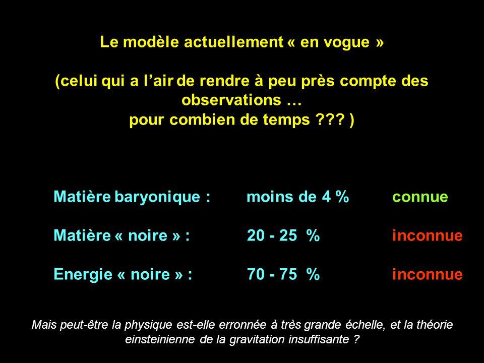 Le modèle actuellement « en vogue » (celui qui a lair de rendre à peu près compte des observations … pour combien de temps ??.