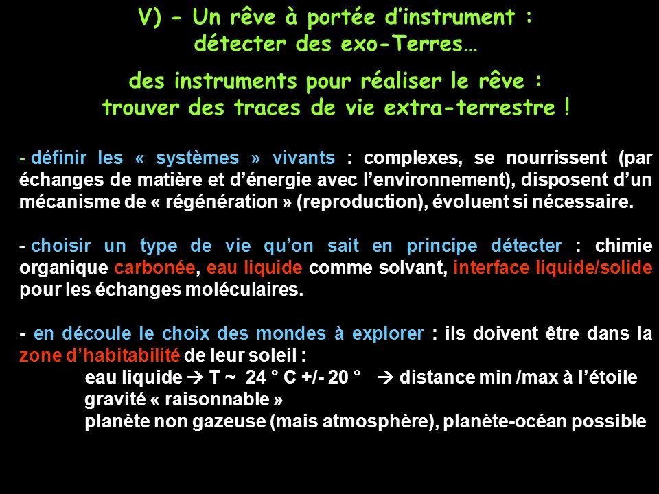 V) - Un rêve à portée dinstrument : détecter des exo-Terres… des instruments pour réaliser le rêve : trouver des traces de vie extra-terrestre .