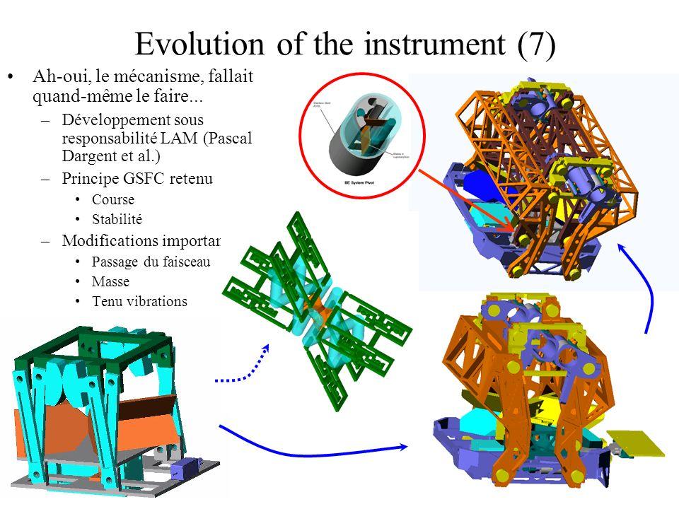 Evolution of the instrument (7) Ah-oui, le mécanisme, fallait quand-même le faire... –Développement sous responsabilité LAM (Pascal Dargent et al.) –P