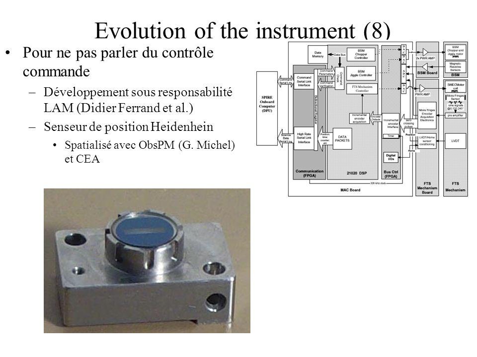 Evolution of the instrument (8) Pour ne pas parler du contrôle commande –Développement sous responsabilité LAM (Didier Ferrand et al.) –Senseur de pos