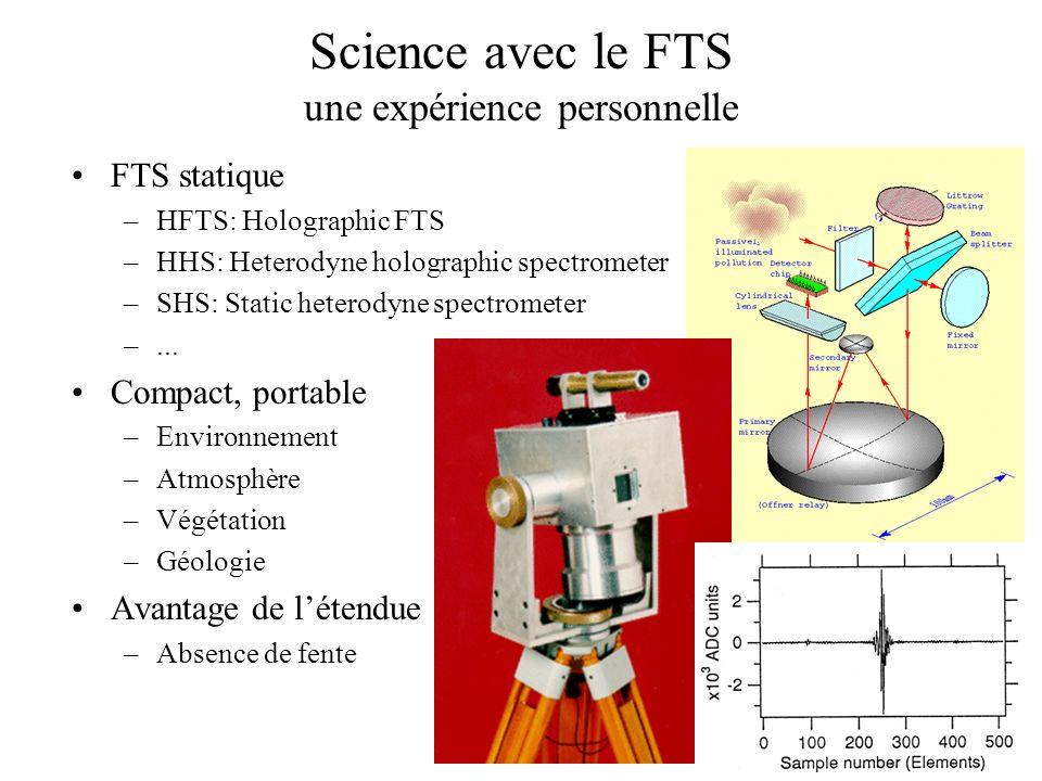 Science avec le FTS une expérience personnelle FTS statique –HFTS: Holographic FTS –HHS: Heterodyne holographic spectrometer –SHS: Static heterodyne s