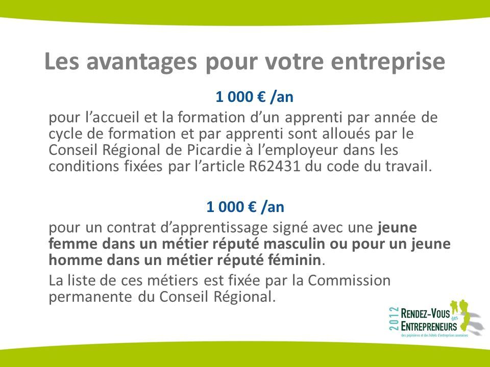 Les avantages pour votre entreprise 1 000 /an pour laccueil et la formation dun apprenti par année de cycle de formation et par apprenti sont alloués par le Conseil Régional de Picardie à lemployeur dans les conditions fixées par larticle R62431 du code du travail.