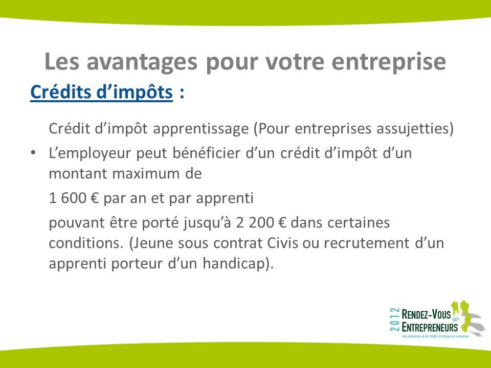 Les avantages pour votre entreprise Crédits dimpôts : Crédit dimpôt apprentissage (Pour entreprises assujetties) Lemployeur peut bénéficier dun crédit