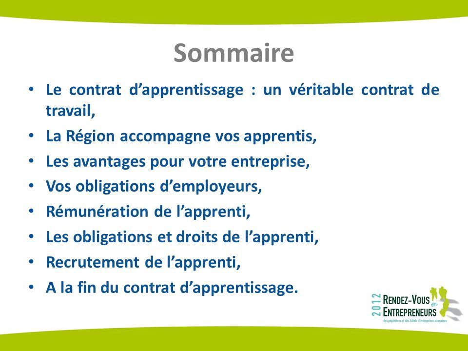 Sommaire Le contrat dapprentissage : un véritable contrat de travail, La Région accompagne vos apprentis, Les avantages pour votre entreprise, Vos obl