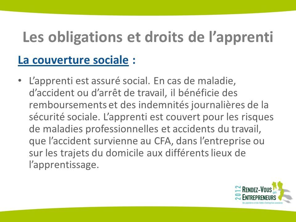 Les obligations et droits de lapprenti La couverture sociale : Lapprenti est assuré social. En cas de maladie, daccident ou darrêt de travail, il béné