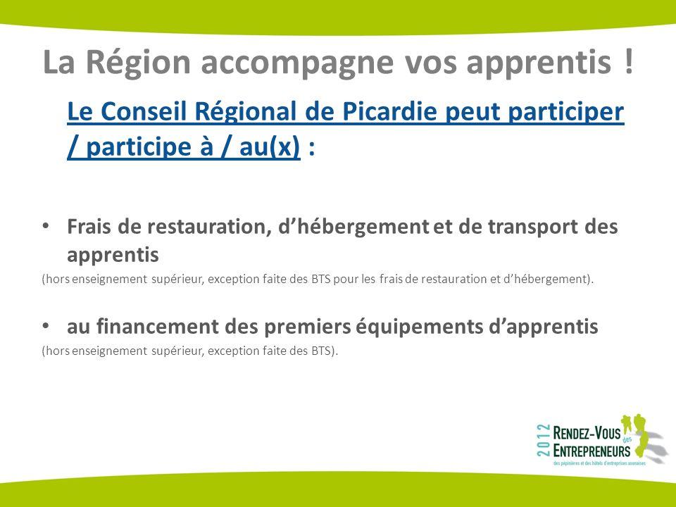 La Région accompagne vos apprentis ! Le Conseil Régional de Picardie peut participer / participe à / au(x) : Frais de restauration, dhébergement et de