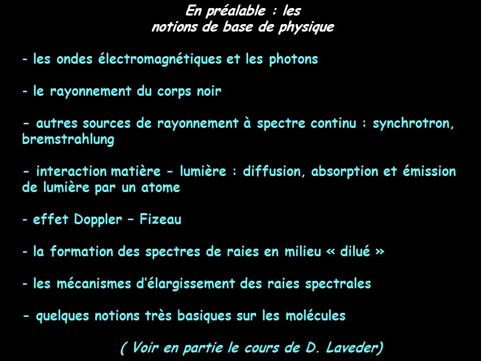 En préalable : les notions de base de physique - les ondes électromagnétiques et les photons - le rayonnement du corps noir - autres sources de rayonn