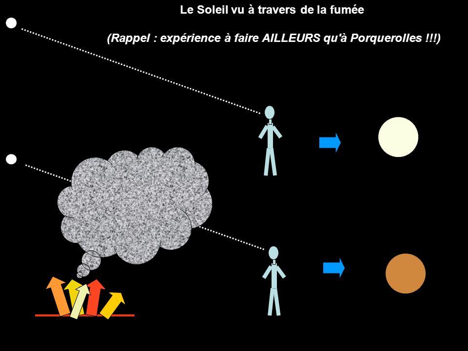 Le Soleil vu à travers de la fumée (Rappel : expérience à faire AILLEURS qu'à Porquerolles !!!)