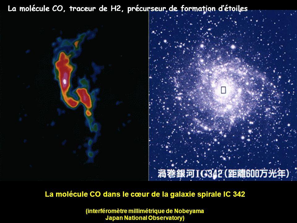 La molécule CO dans le cœur de la galaxie spirale IC 342 (interféromètre millimétrique de Nobeyama Japan National Observatory) La molécule CO, traceur
