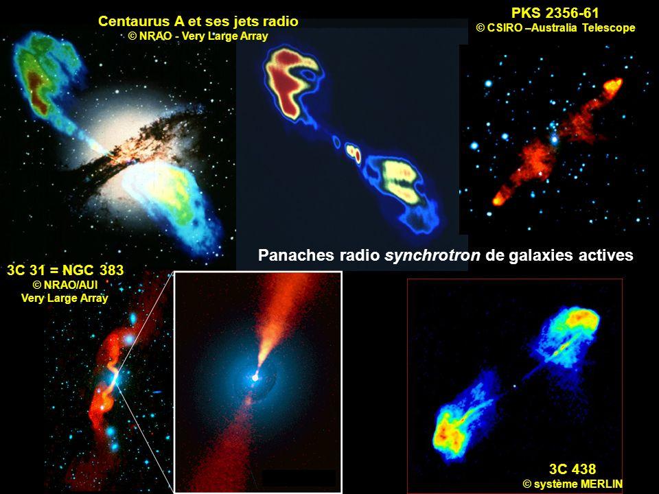 Centaurus A et ses jets radio © NRAO - Very Large Array 3C 438 © système MERLIN 3C 31 = NGC 383 © NRAO/AUI Very Large Array PKS 2356-61 © CSIRO –Austr