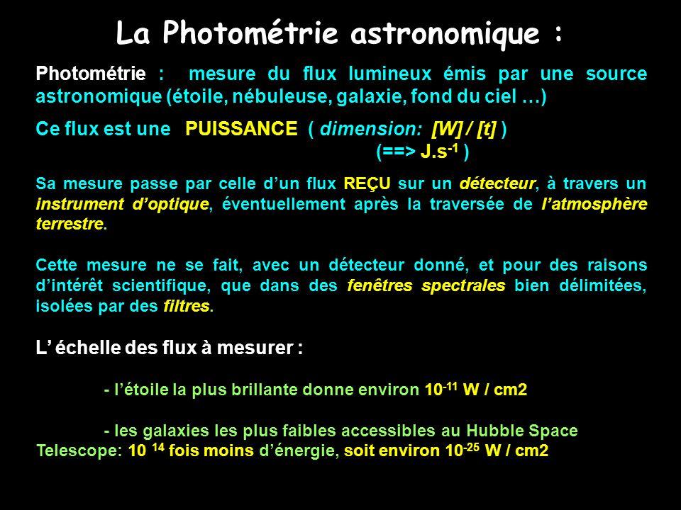 La Photométrie astronomique : Photométrie : mesure du flux lumineux émis par une source astronomique (étoile, nébuleuse, galaxie, fond du ciel …) Ce f