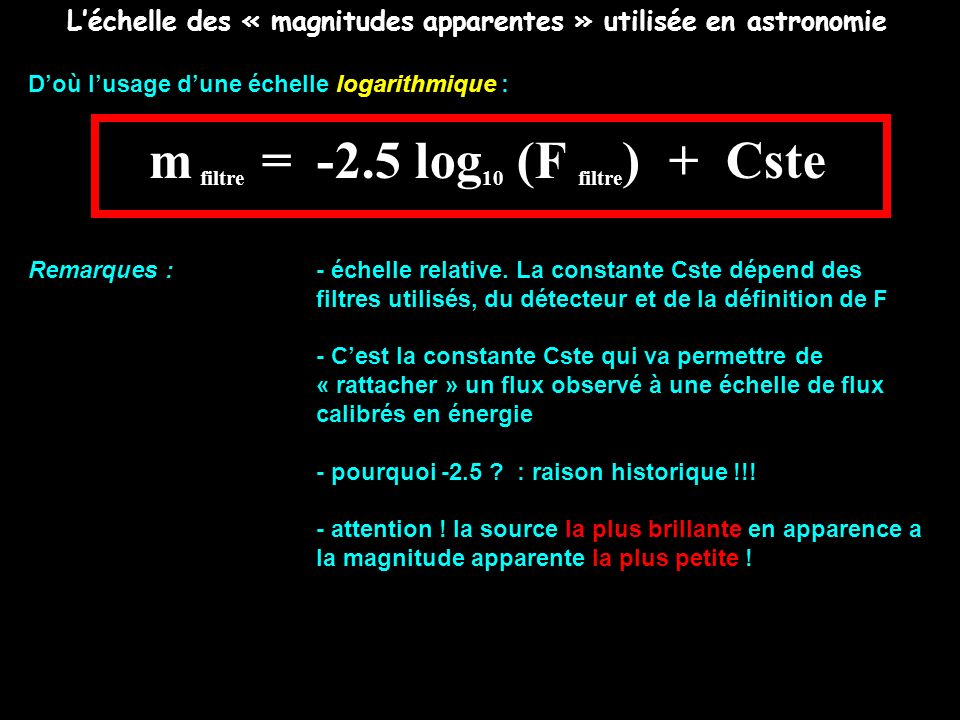 Léchelle des « magnitudes apparentes » utilisée en astronomie Doù lusage dune échelle logarithmique : m filtre = -2.5 log 10 (F filtre ) + Cste Remarq