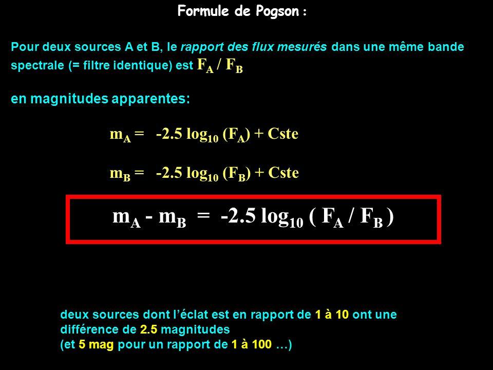 Formule de Pogson : Pour deux sources A et B, le rapport des flux mesurés dans une même bande spectrale (= filtre identique) est F A / F B en magnitud