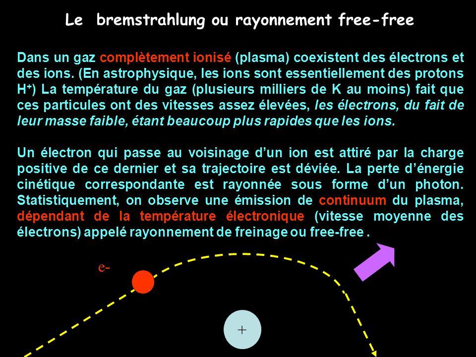 Le bremstrahlung ou rayonnement free-free Dans un gaz complètement ionisé (plasma) coexistent des électrons et des ions. (En astrophysique, les ions s