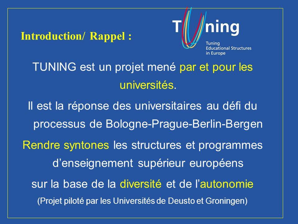 Management Committee TUNING est un projet mené par et pour les universités.