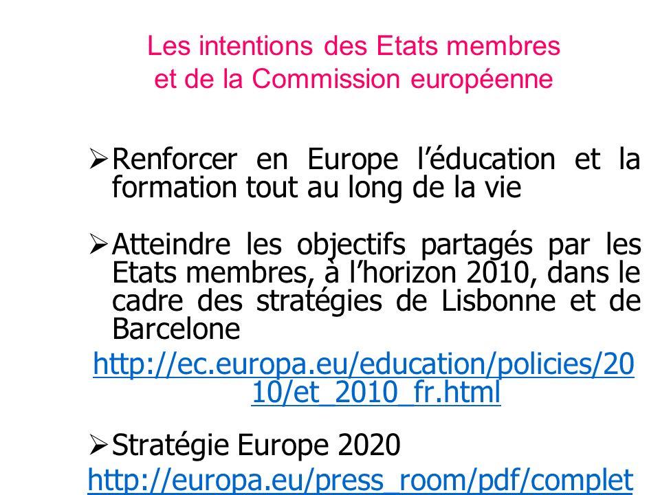 Les intentions des Etats membres et de la Commission européenne Renforcer en Europe léducation et la formation tout au long de la vie Atteindre les ob