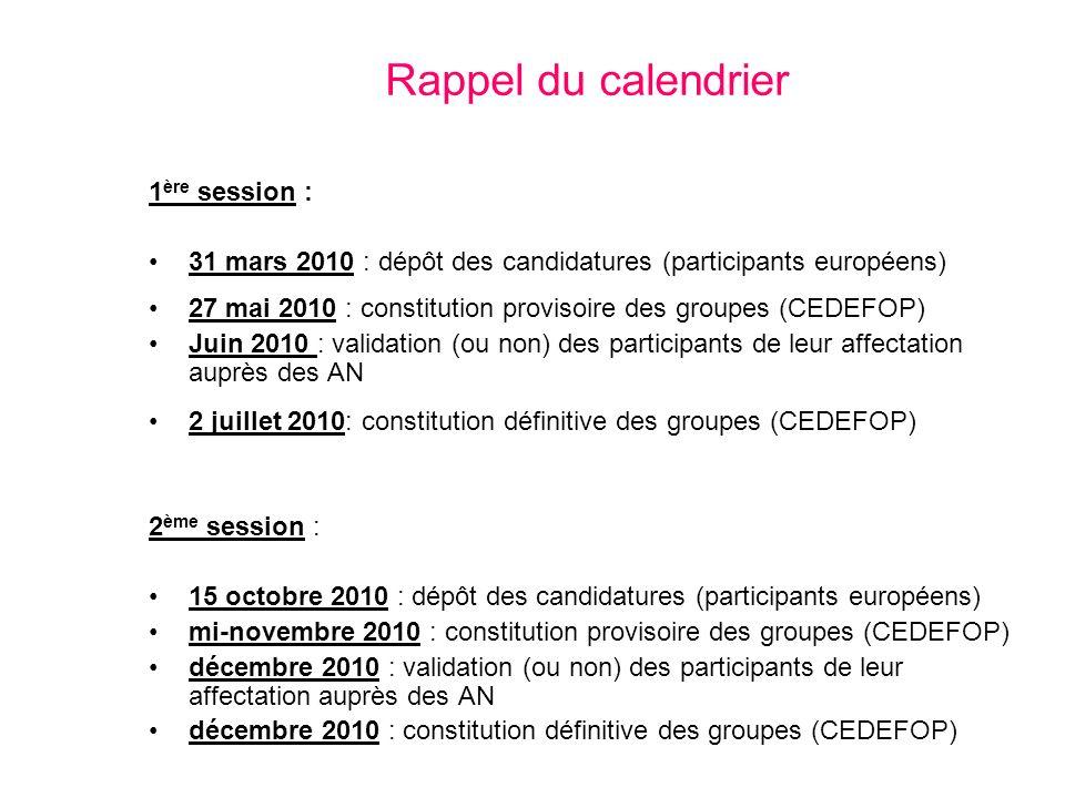 Rappel du calendrier 1 ère session : 31 mars 2010 : dépôt des candidatures (participants européens) 27 mai 2010 : constitution provisoire des groupes