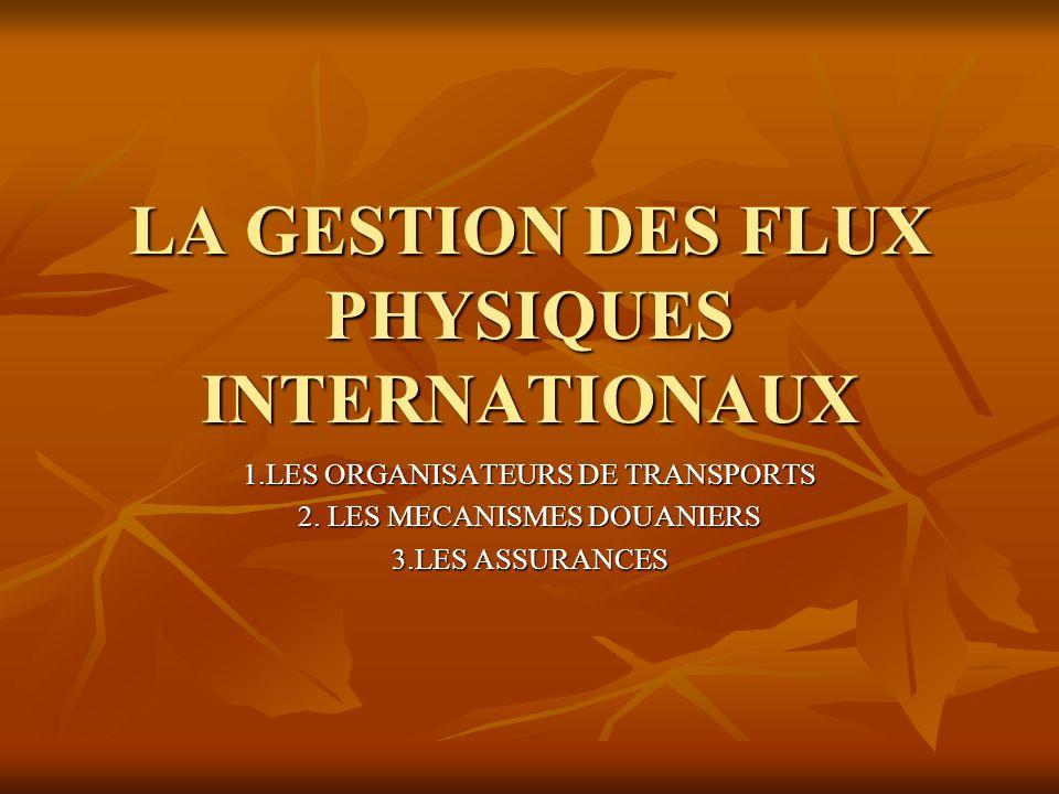 LA GESTION DES FLUX PHYSIQUES INTERNATIONAUX 1.LES ORGANISATEURS DE TRANSPORTS 2. LES MECANISMES DOUANIERS 3.LES ASSURANCES