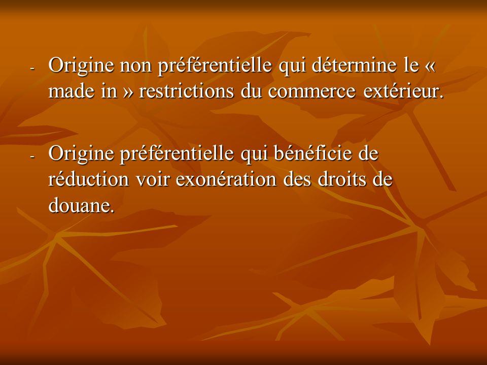 - Origine non préférentielle qui détermine le « made in » restrictions du commerce extérieur. - Origine préférentielle qui bénéficie de réduction voir
