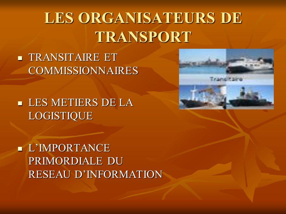 LES ORGANISATEURS DE TRANSPORT TRANSITAIRE ET COMMISSIONNAIRES TRANSITAIRE ET COMMISSIONNAIRES LES METIERS DE LA LOGISTIQUE LES METIERS DE LA LOGISTIQ